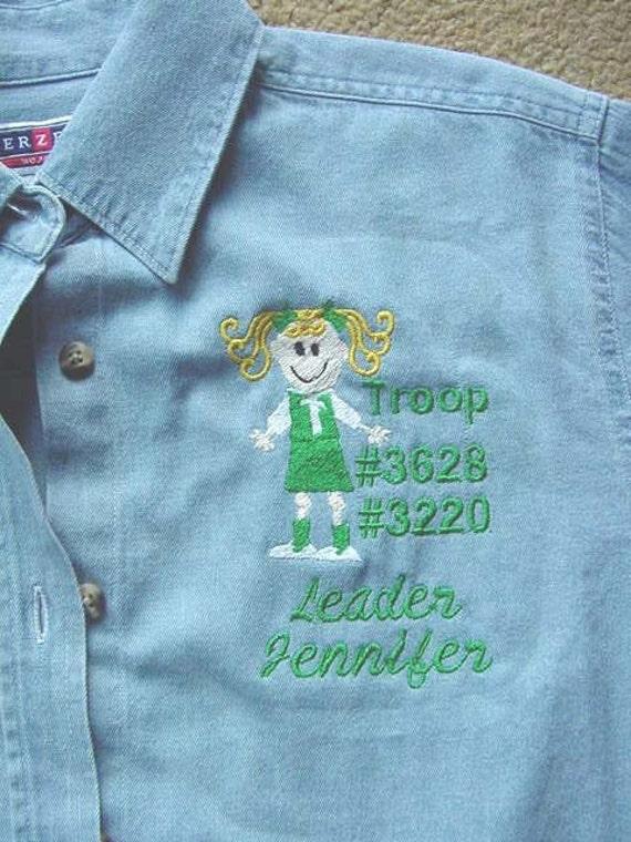 Girl scout troop leader ladies denim shirt long or short for Girl scout troop shirts