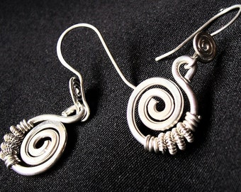 """Sterling Silver Earring/ Argentium/ Spiral w/ Wrap/ """"Cecilia"""""""