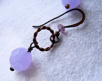 """Antiqued Copper and Lavender Faceted Glass Earrings   """"Lauren"""""""
