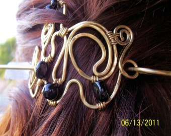 Hair Clip/ Brass Sculptural Hair Clip/ SAMPLE PHOTO /OOAK/ Made to Order