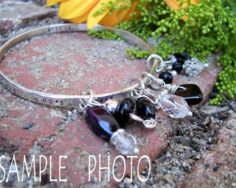 """Argentium Sterling Silver Charm Bangle/""""Quotable Notion"""" / Personalized/ Custome Made"""