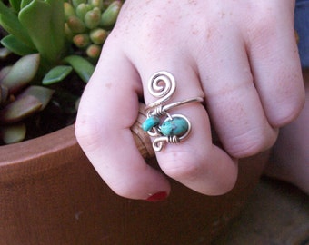 """Argentium Sterling Silver and Turquoise Double Eye Ring / """"Arizona Eyes"""""""