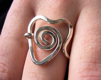 """Ready to Ship/ Valentines Day Gift for Her, Spiral Heart Ring in Argentium Sterling Silver  , """"Eternal Love""""  Made to Order"""