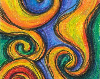 "ACEO/ATC Original Drawing/ Ready to Ship / Free Shipping / ""Absract Swirls""/ Fine Art"