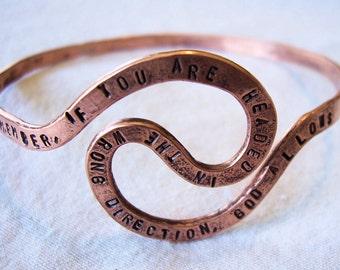Copper Bangle Bracelet/ U Turn quote/ personalized bracelet/ Prayer or message bracelet