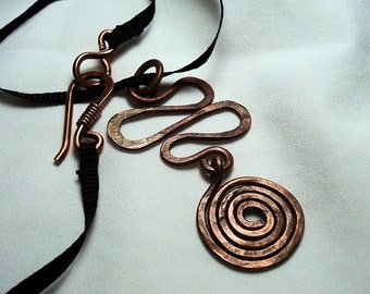 Distressed copper spiral necklace