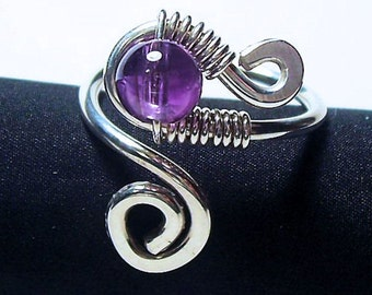 "Eye Ring Handcrafted in Argentium Sterling Silver and Amethyst / ""Truth""/   Made to Order"