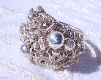 """Chunky Sculpture Ring in Argentium Sterling Silver  """"Enthralled""""  SAMPLE PHOTO"""