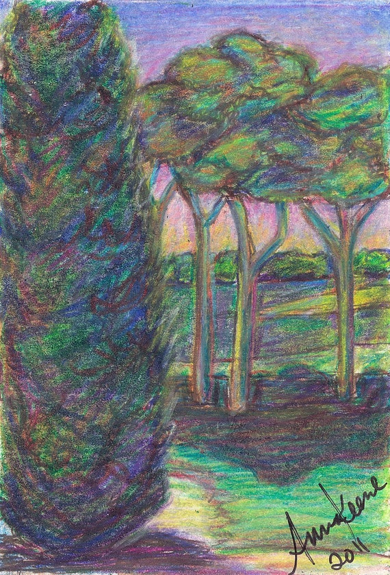 """Fine Art Original Drawing/  Ready to Ship / Free Shipping /ACEO/ ATC / """"Garden at Sunset"""""""