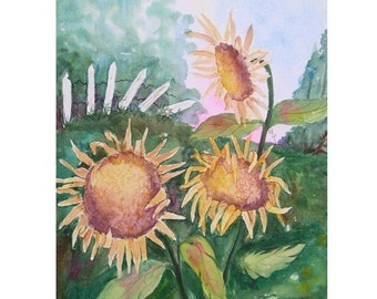 Original Watercolor Painting, Watercolor Sunflower Painting, Original Watercolor Painting of 3 Sunflowers