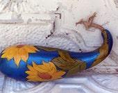 Original Organic gourd folk art yellow sunflower design wood burned, painted Linda Kelly