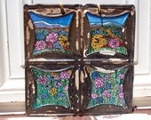 Original Folk Art  Flowers Painting on 100 year old recycled Tin Ceiling Tile
