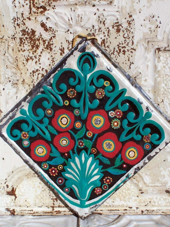 Original Folk Art Red Flowers Painting on 100 year old recycled Tin Ceiling Tile