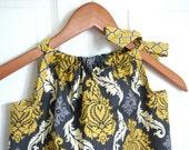 Girl Clothing - Pillowcase Dress - Girl Dress - Vintage Yellow Damask
