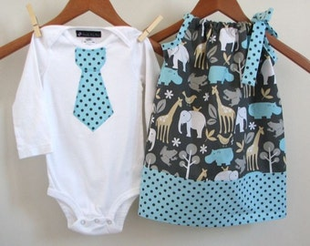 Matching Brother Sister Set - Tie Shirt - Pillowcase Dress - Slate Zoo Animals