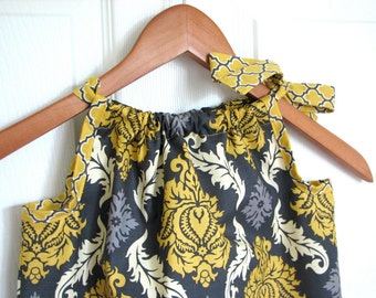 Girl Clothing - Pillowcase Dress - Girl Dress - Vintage Yellow Damask
