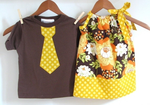 Brother and Sister Set of Pillowcase Dress with Matching Tie Shirt in Splashy Rose Pumpkin and Mustard Dots