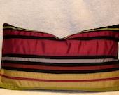 SALE, Ribbon Lumbar Pillow, OOAK, complimentary shades of ribbons, zipper closure.