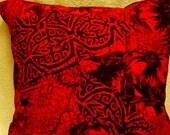 SALE,  Red and black designer, medium weight, 18x18.