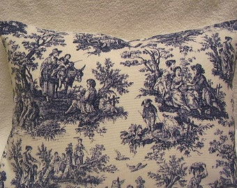 """FREE ship, Pillow Cover, Toss, throw, accent in blue toile, 16x16""""."""
