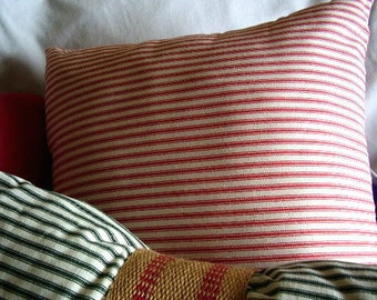 NEW, Waverly ticking, red stripes, lumbar 14x18 or smaller