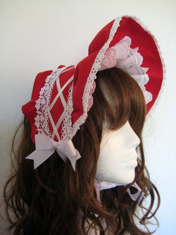 Gothic Lolita Half Bonnet Red and White