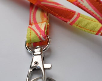 Fabric Lanyard for ID badge, keys in Amy Butler Disco Flower