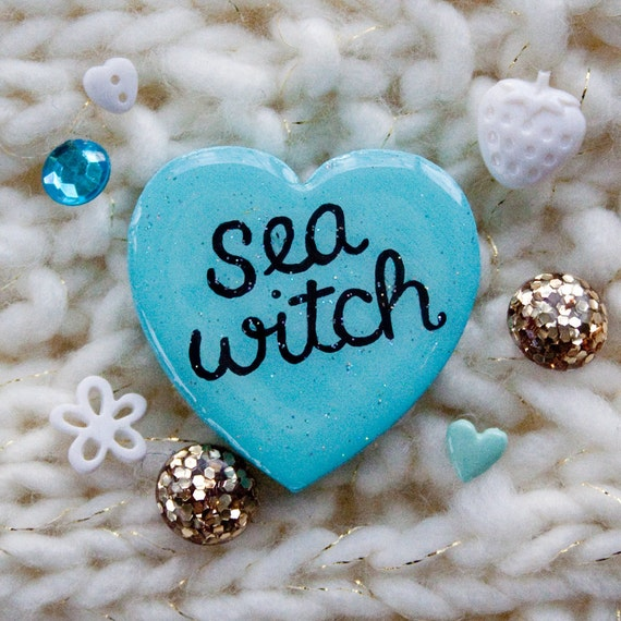 Sea Witch / Hand Painted Wooden Blue Glitter Heart Pin