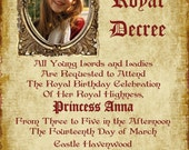 SALE - Princess Invitation with Parchment Paper Look - Custom Photo Greeting Card