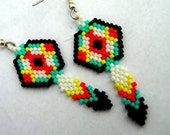 Seed Bead Shield With Feather Indian Styled Brick Stitched Woven Dangle Earrings