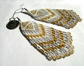 Indian Style Seed Beaded White Pearl, Silver, Gold  long Fringed Diamond Shape Dangle Bead Earrings MADE TO ORDER