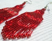 Seed Bead Woven Sparkling Red Chandelier Fringed Dangle Earrings