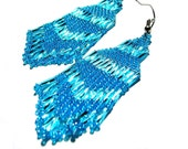 Shimmering Sky Blue Seed Beaded Chandelier/Fringed Dangle Earrings created with the Indian style Brick stitch.