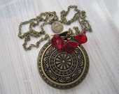 Olivia Vintage Daisy Locket in Scarlet Red and Brass