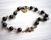 Lauren Vintage Garden Leaf Bracelet in Black Obsidian and Brass