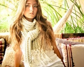 FRINGES hand knitted scarf in cream and ecru