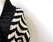 hand knit cardigan vest ZIG ZAG in black and white, belt with tassels