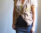 RITA hand knitted bolero vest cardigan in camel