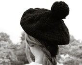POMPOM beret tam hand knit black wool chunky slouchy hat