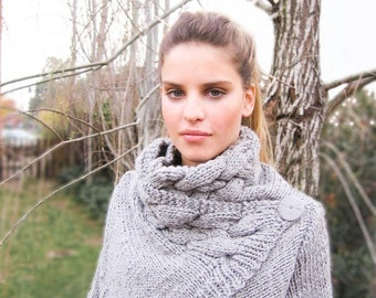 chunky wool sweater cardigan RIONA Medium handknit cozy cable cowl neck coat in warm gray