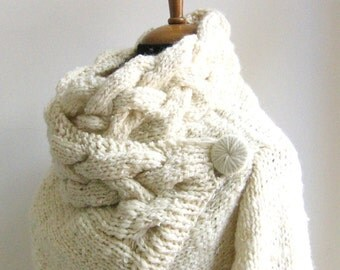 chunky cardigan cables RIONA Medium cozy cowl neck handknit coat cream sweater wool and silk ivory unique