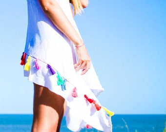 ON SALE white vest cover up MATHILDA with rainbow colors tassels with braided belt. handloom