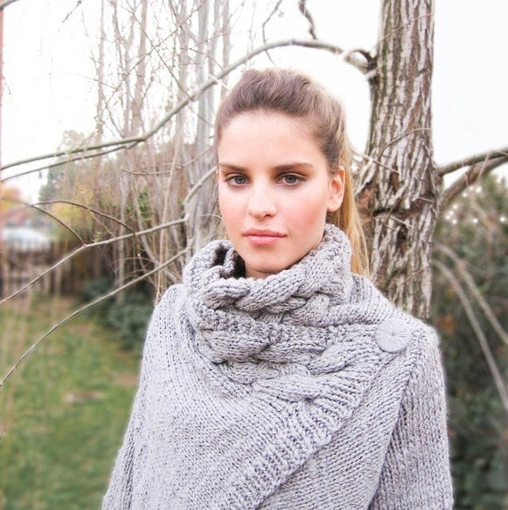 ON SALE chunky wool sweater cardigan RIONA Medium handknit cozy cable cowl neck coat in warm gray