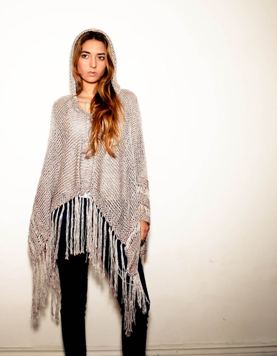 hand knit poncho KATE with hood in silver silk
