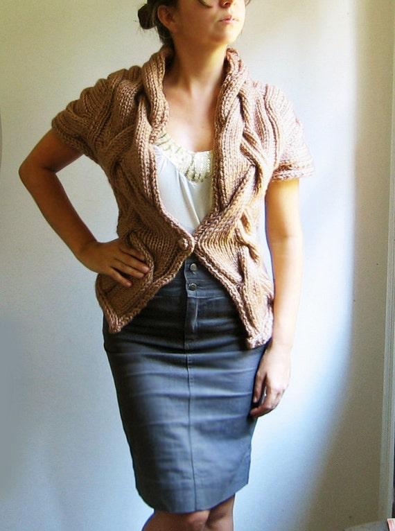 hand knit cardigan vest RITA  in dark camel. Ready to ship