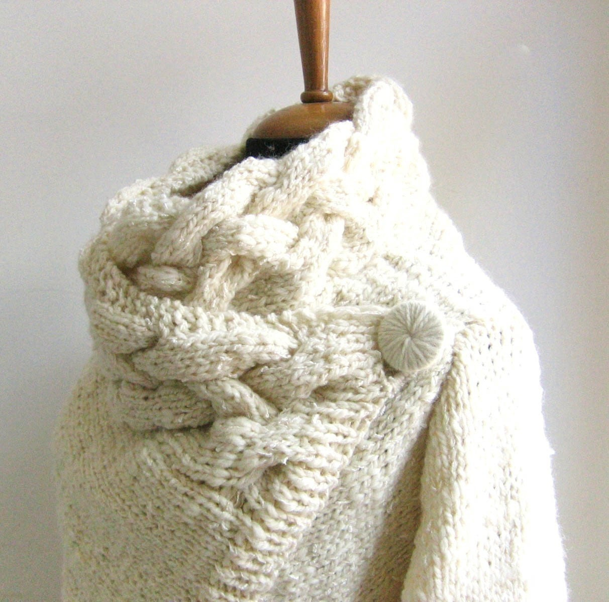 Knitting Patterns For Chunky Wool Sweaters : hand knit cardigan RIONA size Small chunky coat cream sweater