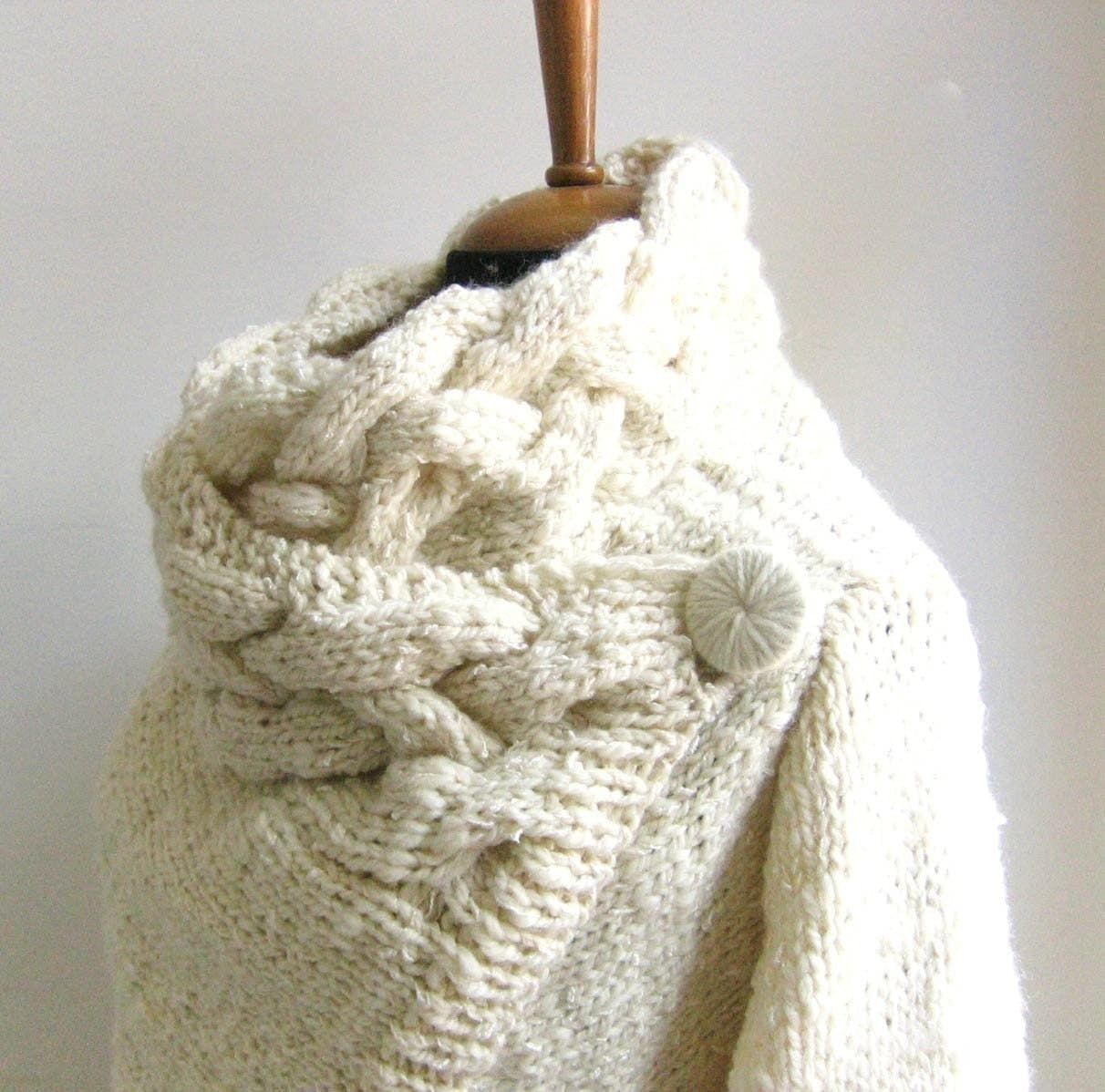 hand knit cardigan RIONA size Small chunky coat cream sweater