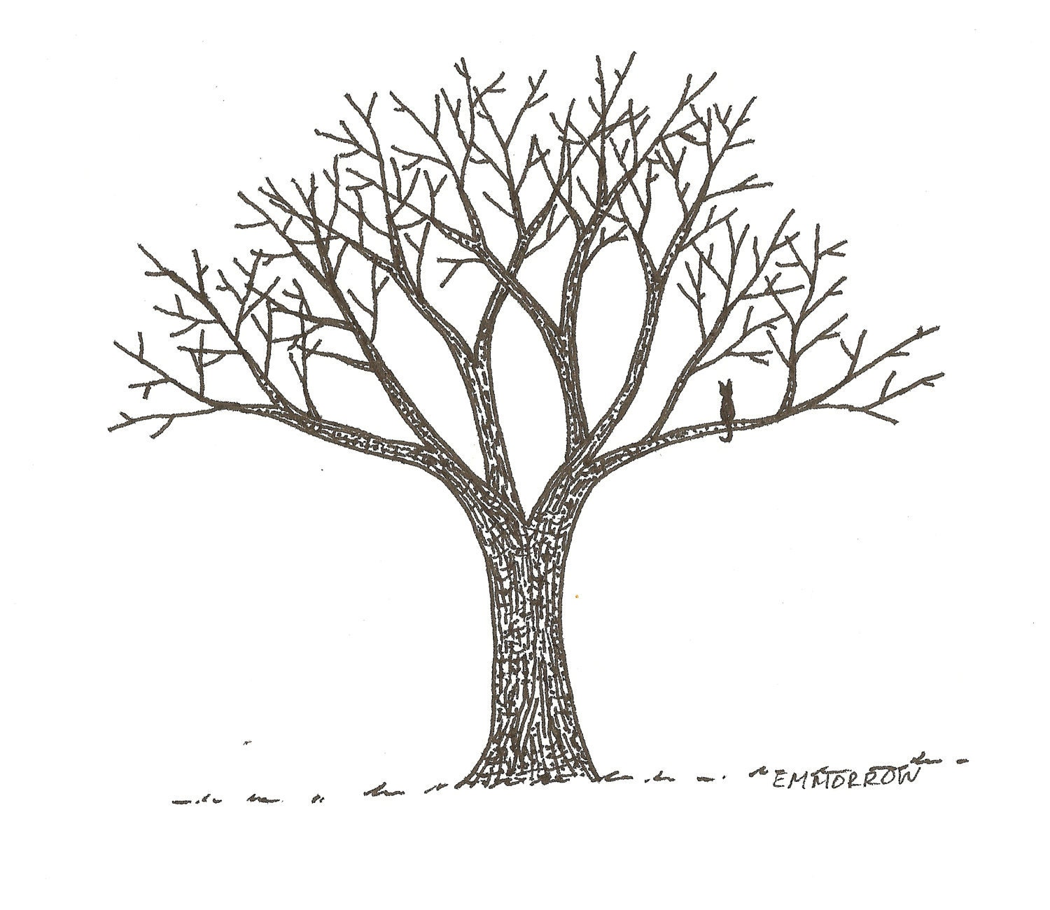 It's just a graphic of Canny Tree Pen Drawing