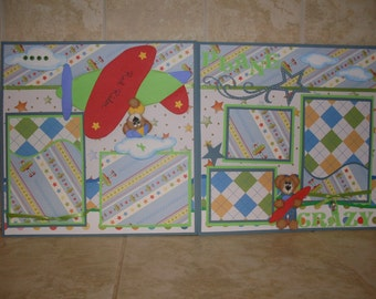 Premade Scrapbook Pages Boy Plane Crazy Tear Bear Paper Piecing