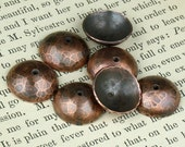Hand-forged Copper Bead Caps 14mm - QTY 4